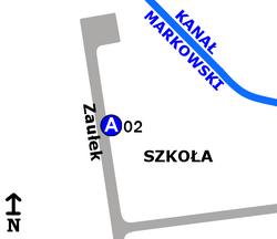 """Schemat rozmieszczenia przystanków w zespole """"Zaułek-Szkoła"""""""