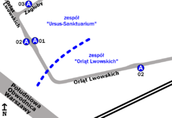 """Schemat rozmieszczenia przystanków w zespołach """"Orląt Lwowskich"""" i """"Zagłoby"""""""
