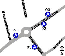 Schemat rozmieszczenia przystanków w zespole Redutowa