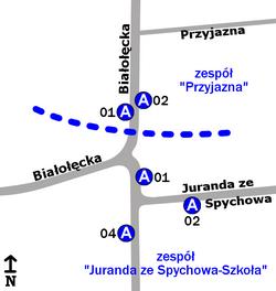 """Schemat rozmieszczenia przystanków w zespołach """"Juranda ze Spychowa-Szkoła"""" i """"Przyjazna"""""""