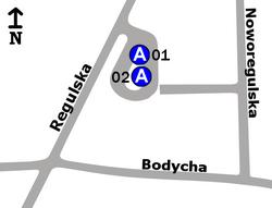 Schemat rozmieszczenia przystanków w zespole Regulska