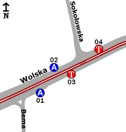 Schemat rozmieszczenia przystanków w zespole Sokołowska
