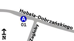 Schemat rozmieszczenia przystanków w zespole Zagłoby