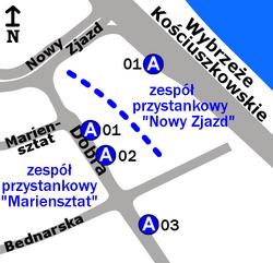 """Schemat rozmieszczenia przystanków w zespole """"Mariensztat"""""""