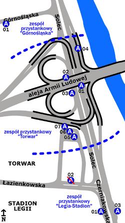 """Schemat rozmieszczenia przystanków w zespołach """"Torwar"""", """"Legia-Stadion"""" oraz """"Górnośląska"""""""