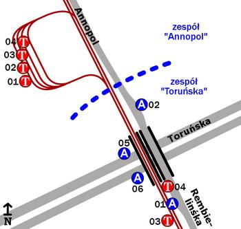 """Schemat rozmieszczenia przystanków wzespole """"Annopol"""""""