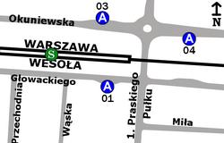 Schemat rozmieszczenia przystanków w zespole PKP Wesoła