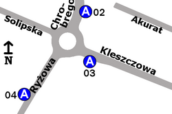 Schemat rozmieszczenia przystanków w zespole Ryżowa