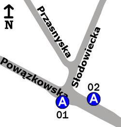 Schemat rozmieszczenia przystanków w zespole Powązki-IV Brama