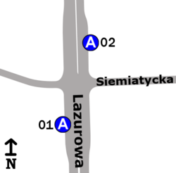 Schemat rozmieszczenia przystanków w zespole Siemiatycka