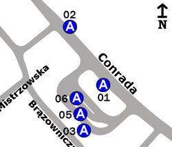 Schemat rozmieszczenia przystanków w zespole Chomiczówka