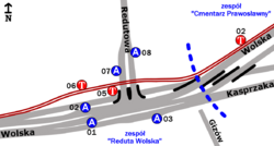 Schemat rozmieszczenia przystanków w zespołach Cmentarz Prawosławny i Reduta Wolska