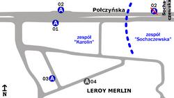Schemat rozmieszczenia przystanków w zespołach Karolin i Sochaczewska