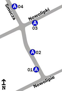 Schemat rozmieszczenia przystanków w zespole Nowolipie