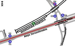 Rozmieszczenie przystanków w zespole PKP Powiśle
