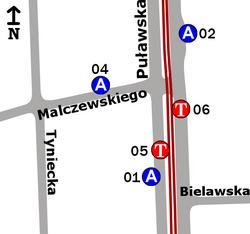 Schemat rozmieszczenia przystanków w zespole Malczewskiego