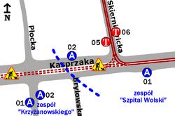 Schemat rozmieszczenia przystanków w zespołach Szpital Wolski i Krzyżanowskiego