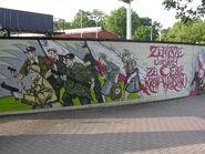 Mural na murze Stadionie Polonii
