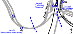 Schemat rozmieszczenia przystanków w zespołach Lotnisko Chopina, Bennetta oraz Terminal Autobusy