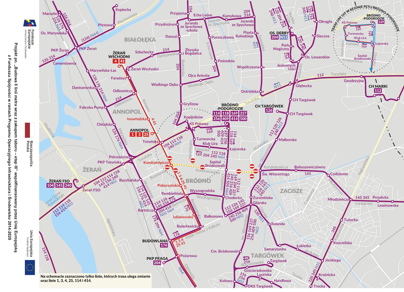 Zmiany w trasach komunikacji miejskiej po rozpoczęciu budowy stacji II linii metra na Bródnie
