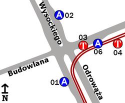 Schemat rozmieszczenia przystanków w zespole Budowlana