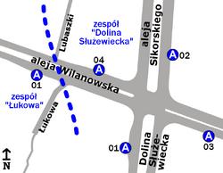 """Schemat rozmieszczenia przystanków w zespołach """"Dolina Służewiecka"""" i """"Łukowa"""""""
