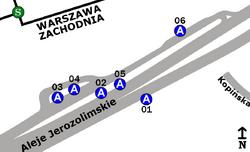 Schemat rozmieszczenia przystanków w zespole Dworzec Zachodni