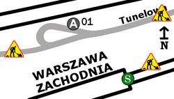 Schemat rozmieszczenia przystanków w zespole Dworzec Zachodni (Tunelowa)