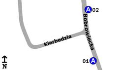 """Schemat rozmieszczenia przystanków w zespole """"Kierbedzia"""""""