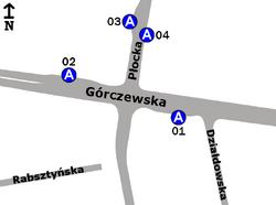 Schemat rozmieszczenia przystanków w zespole Płocka-Szpital