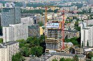 Cosmopolitan w budowie widziany z Pałacu Kultury i Nauki