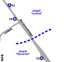 Schemat rozmieszczenia przystanków w zespołach Elsnerów i Lniana