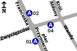 Schemat rozmieszczenia przystanków w zespole Plac Przymierza