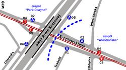 Schemat rozmieszczenia przystanków w zespołach Włościańska i Park Olszyna