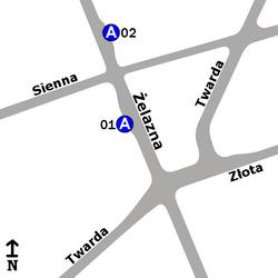 """Schemat rozmieszczenia przystanków w zespole """"Sienna"""""""
