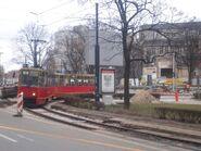 Aleja Solidarności (tymczasowa, zawrotka, marzec 2009, tramwaj 26) 2