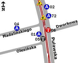 Schemat rozmieszczenia przystanków w zespole Dworkowa
