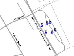 Schemat rozmieszczenia przystanków w zespole Osiedle Kabaty