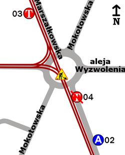 Schemat rozmieszczenia przystanków w zespole Plac Zbawiciela