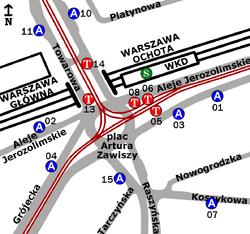Schemat rozmieszczenia przystanków w zespole Plac Zawiszy