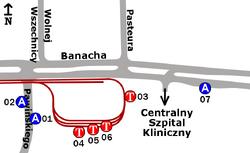 Schemat rozmieszczenia przystanków w zespole Banacha