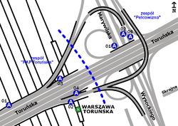Schemat rozmieszczenia przystanków w zespołach PKP Toruńska i Pelcowizna