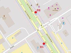 Schemat rozmieszczenia przystanków w zespole Mangalia, © autorzy OpenStreetMap, zobacz opis