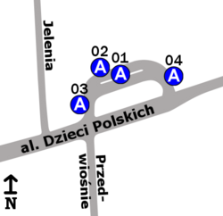 """Schemat rozmieszczenia przystanków w zespole """"Międzylesie"""""""