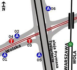 Schemat rozmieszczenia przystanków w zespole Osiedle Wolska