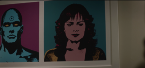 Close Up of Laurie in the same painting featuring Dr Manhattan Nite Owl II and Ozymandias