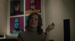 Laurie with poster of Nite Owl II Dr Manhattan and Ozymandias
