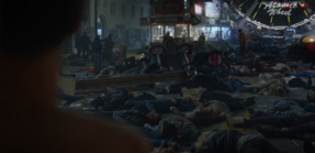 Piles of bodies after the blast