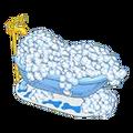 Fluffy white bubble bath
