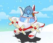 Chillaxin penguin in arctic airplane